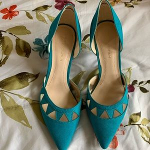 MARC FISHER teal suede pumps